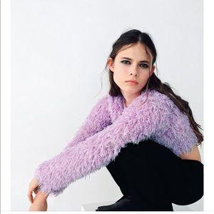 NWT Zara Feather Effect Sweatshirt Lavender